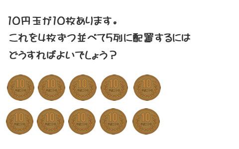 【頭の体操】10円玉が10枚あります。これを4枚ずつ並べて5列に配置するにはどうすればよいでしょう?