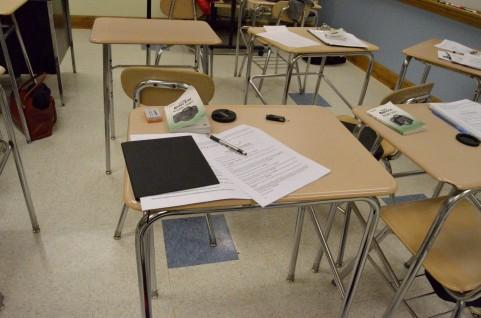 テスト後の机