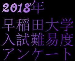 2018年早稲田大学入試難易度アンケート
